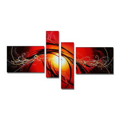 fabuart - Orange Abstract Hand Painted Oil Painting - 4 Panels - 63 x 36in - This beautiful Art is 100% hand-painted on canvas by one of our professional artists. Our experienced artists start with a blank canvas and paint each and every brushstroke by hand.