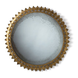 Farrah Large Iron Mirror - Antiqued richness and timeless grandeur accent your room when you place the Farrah Iron Mirror against a wall.  A floral or celestial motif of nearly three feet in diamater, this round wall mirror is framed in lovely, tightly-placed petals of iron gilded in gold leaf for an opulent result.  The antiqued edges of the round mirror within frame your reflection or the composition of your room in a patina of the past.