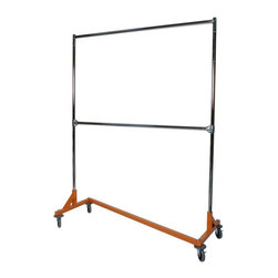 Z Racks - Double Rail Medium Duty Z Rack Garment Rack - Orange Z-base Only. 350 lb load capacity. 70 in. of vertical hang space. 60 in. of horizontal hang space. 63 in. base - 14 gauge steel. 77 in. uprights. Two 12 in. extensions included. 4 in. industrial strength, swivel, non-marring casters. Non-marring rubber bumpers and 2-wheel brakes are included. 63 in. L x 23 in. W x 79 in. HSolid and balanced construction is critical for any storage rack. With that being said, this two-rack model is strong enough to handle the weight of fully-loaded parallel bars, not tipping or buckling under the pressure. Our model is built with balance in mind so that the second row of clothing sits over the other and within the support of the wheels. The uprights extend 73 in. high, and the second rail is adjustable so that it sits wherever you decide is best.