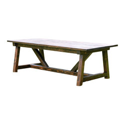 """Penn Rustics - Rustic 4 x 4 Truss Beam Dining Room Table, Ebony, 96"""" X 45"""" X 30"""" - Imagine your family gathering around this gorgeous rustic 4 x 4 truss beam dining room table.  Great for a large family and kid friendly, this is a quality handmade table that would make a great family heirloom and one that we hope you enjoy for many years to come!  Built out of solid pine."""