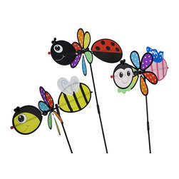 Zeckos - Bee, Ladybug, Butterfly Colorful Wind Spinners Garden Stakes Set of 3 - This colorful set of wind spinners will add a bit of whimsy to your garden, lawn or patio Featuring a bumble bee, a ladybug and a striped butterfly, each piece is crafted from weatherproof nylon material with a plastic stake and knobs, and measure approximately 30 inches (76 cm) high, 19 inches (48 cm) wide with an 11 inch (28 cm) diameter spinner. No wonder these bugs are always smiling, each spinner has all the colors of the rainbow highlighted by fun polka dots Stake them in the ground or in a dirt or stone filled pot leading to your entryway, by the mailbox or out by the pool. Wherever this trio finds a home, they are sure to be adored by all