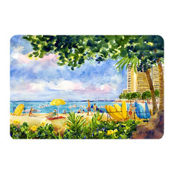 Caroline's Treasures - Beach Resort View From The Condo  Kitchen Or Bath Mat 24X36 - Kitchen or Bath COMFORT FLOOR MAT This mat is 24 inch by 36 inch.  Comfort Mat / Carpet / Rug that is Made and Printed in the USA. A foam cushion is attached to the bottom of the mat for comfort when standing. The mat has been permenantly dyed for moderate traffic. Durable and fade resistant. The back of the mat is rubber backed to keep the mat from slipping on a smooth floor. Use pressure and water from garden hose or power washer to clean the mat.  Vacuuming only with the hard wood floor setting, as to not pull up the knap of the felt.   Avoid soap or cleaner that produces suds when cleaning.  It will be difficult to get the suds out of the mat.