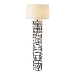 Arteriors - Hansel Floor Lamp, Natural Iron - This impressive pillar will let you see your favorite eclectic setting in a cool new light. The tall, cage-like base, formed from interlocking open rectangles, supports a simple ivory drum shade.