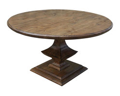 Mortise & Tenon - Algonquin Round Reclaimed Wood Dining Table - Break fast, break bread or break the rules with this shapely table. Great in your kitchen or small dining room, it's perfect for games in your family room or as a grand center table in your entry. Made of reclaimed, Douglas fir-stained dark walnut, it won't break your bank.