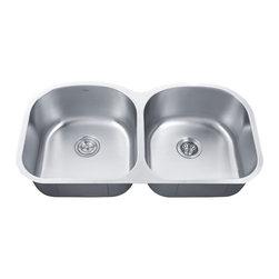 "Kraus KBU28 39"" 50/50 Double Bowl 16-Gauge Stainless Steel Kitchen Sink - Dimensions:"