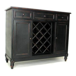 Wayborn - Sideboard w Wine Rack - Vintage-look sideboard in smart antique black finish gives you lots of storage in one compact design.  Ideal for kitchens and small dining spaces, it features closed cabinets with additional wine racks and three handy pull-out drawer for flatware and more. 3 Drawers. 2 Doors. 1 Non-adjustable shelf on each side. Made from Pinus Sylvestris. Antique Smooth finish. Worn with Red undercoat. Light Assembly Required (legs need to be installed by customer). Shelves (above and below the shelves): 11.5 in. W x 14.5 in. D x 10.5 in. H. Overall: 46 in. W x 17 in. D x 38 in. H (85 lbs.)
