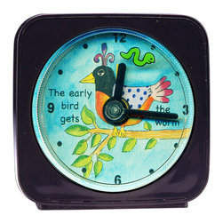 Early Bird Alarm Clock - Our alarm clocks add a little whimsy to any room and make a great gift for jEarly BirdAlarm Clock, a little worm floats around the bird as it counts the seconds. Each alarm clock comes in a gift box and includes a free battery. Made in the USA. (Be sure to look for our Early Bird wall clock, too!)