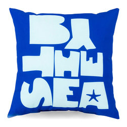 By the Sea Outdoor Pillow - Cobalt - Bright, bold, and spontaneous in look with a serendipitous placement of its letters and a single star motif for a touch of the whimsical, the By the Sea Outdoor Pillow in Cobalt turns the crisp look of typography on its head. Excellent for a children's room at a beach house or for coordinating a vintage loveseat with your nautical theme, this pillow is made to weather conditions inside or outdoors.