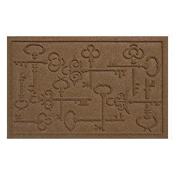 Bungalow Flooring - Aqua Shield 2'x3' Keys to the City Doormat, Dark Brown - Premium 24-oz. anti-static polypropylene mat traps dirt, water and mud.