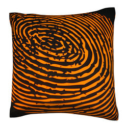 Custom Photo Factory - Fingerprint Orange Pillow,  Polyester Velour Throw Pillow - Fingerprint Orange Pillow. 18 Inches x 18 Inches  Made in Los Angeles, CA, Set includes: One (1) pillow. Pattern: Full color dye sublimation art print. Cover closure: Concealed zipper. Cover materials: 100-percent polyester velour. Fill materials: Non-allergenic 100-percent polyester. Pillow shape: Square. Dimensions: 18.45 inches wide x 18.45 inches long. Care instructions: Machine washable