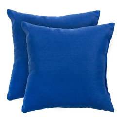 None - 17-inch Outdoor Marine Blue Square Accent Pillow (Set of 2) - Add a touch of contemporary style and comfort to your outdoor furnishings with these accent pillows. These pillows are overstuffed with a soft 100-percent polyester fill and have a durable weather resistant and UV protected cover.