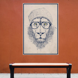 My Wonderful Walls - Cool Hipster Lion Wall Decal Sticker by Balázs Solti, Large - - Product:  lion sticker decal in hipster cap and glasses