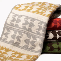 Indian Knit Throw - Navaho inspired throw is knit with a blend of recycled cotton yarn and made in the USA.