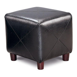 "Coaster - Coaster Contemporary Faux Leather Cube Ottoman in Black - Coaster - Ottomans - 500134 - This group of stylish ottomans offers a functional option for every home. In different shapes sizes styles and fabrics these ottomans will create a comfortable place to rest your feet or a cozy extra seat. Convenient storage features and tray tops make for great entertaining while plush upholstery adds to the sophisticated look of each ottoman. For a simple and stylish completion to your living room family room or hallway add one of these elegant ottomans. This lovely contemporary cube ottoman will be a nice addition to your home. Use in your living room family room or other areas for a comfortable touch. The cube shaped ottoman is covered in rich faux leather with distinctive ""X"" stitching in black or dark brown to complement your decor. Simple round legs complete the sophisticated look. Use on its own or beneath a coffee table for a unique style with great function."