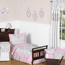 Sweet Jojo Designs - Elizabeth Pink and Gray Damask 5-Piece Toddler Bedding Set by Sweet Jojo Designs - The toddler bedding by Sweet Jojo Designs includes: comforter, sham, pillowcase, fitted sheet and a flat sheet.