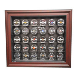 Caseworks - Washington Capitals NHL 30 Puck Cabinet Style Display Case in Mahogany - Our ultimate 30 puck case has hinged sides for easy access and mahogany frame. Includes your favorite NHL team logo. Measures 24 3/4-inch Wide x 4 1/4-inch Deep x 21 3/4-inch High. Made in USA. This item is perfect for your Man Cave, Game Room, Office or anywhere you want to show love for your favorite team. The item shown inside the display case is for illustration purposes only and is not included with your display case purchase.