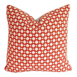 The Pillow Studio - Designer Betwixt Schumacher Pillow Cover, Woven Red and Ivory Geometric Design - This textured pillow will become a subtle focal point to any room; it has a great geometric design and adds just the right amount of color.