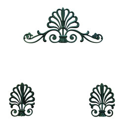 The Merchant Source - Top Treatment with Holdbacks - Peacock Design - Set of 3 (Black) - Finish: Black. Show off your windows with this unique trio of treatments. The 3-piece set includes a pair of holdbacks and has an expansive centerpiece, each highlighted with a subtle peacock design and looping, scrolled metal accents. Just pick a finish color and you're good to go. Set of 3. Pictured in Black finish. Made of Forged Metal. 21.5 in. L x 4 in. W x 10.5 in. H (7 lbs.)
