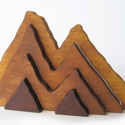 Wooden Mountain Range Stacker by Imagination Kids - I live just below the epic Wasatch Mountains and love seeing the sun come up behind Mt. Olympus. This stacker reminds me of hiking all over the Wasatch front with my family as a kid.