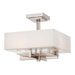 Metropolitan - Metropolitan N6261-613 Eden Roe 2 Light Ceiling Fixture - Bulbs Included - Metropolitan N6261-613 Dual Light Eden Roe Ceiling Fixture - Bulbs IncludedFeaturing a box like Mitered / White Inside glass shade and angular Polished Nickel hardware, this appealing fixture will compliment any decor with its clean, sleek lines. Always on the cutting edge of light design, Metropolitan has created yet another unique ultra modern semi-flush ceiling fixture to their already impressive repertoire.Metropolitan N6261-613 Features: