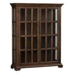 Barnstone Cabinet - Window-paned doors give a view to cherished collectibles displayed in this handsome cabinet, crafted of solid shesham wood stained a rich warm brown. Three fixed shelves are on hand to display books, games or curios. Base and crown molding add a stately note.