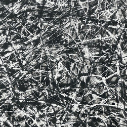 "Study in Black White Grey, Original, Painting - ""An abstract painting in splash art style made famous by Jackson Pollock. The technique looks random and and easy to achieve, however these take quite a bit of planning to create a balance across the whole piece built up over several layers, you need a lot of space in your studio to work around the horizontal canvas.  Quite often I'll use a smaller work as a study to a larger piece to ensure the technique or colours will work. Here I wanted to make sure that I placed the colours on the canvas in the right order before committing myself to a large canvas. It creates a lovely tonal piece in black and white, perfect for the modern interior design. """