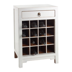 Antique Revival - White Chauvet Wine Cabinet - This attractive Chauvet cabinet is the perfect way to store your wine collection in style. The geometric pattern of square cubbies provides room for 16 wine bottles, while the drawer above adds extra storage space for your favorite corkscrews and wine openers. The white paint color allows it to easily blend in with your existing decor. Item is newly made.