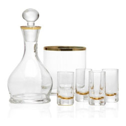 Z Gallerie - Salud Gift Set - Gold - Bring high-style to your evenings with our effortlessly chic Salud Gift Set. Each piece in the six piece set is crafted of glass and trimmed with a metallic boarder offering a touch of refined glamour.  Each glass measures 3.75 inches tall and holds 2 ounces of your favorite spirit, the decanter holds 16 ounces.  Making for a stunning gift, each of our Salud Gift Sets comes complete in an attractive white gift box. Available in Gold or Silver. Exclusive to Z Gallerie.