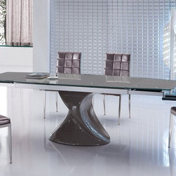 Extendable Glass Top Five Piece Modern Dining - Contemporary brown dining set with extendable dining table.