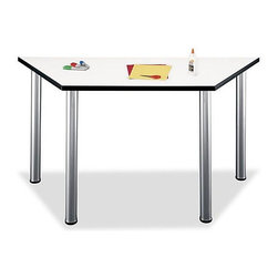 Bush Business - Aspen Trapezoid Table - The trapezoidal shape of this White Spectrum finished table makes it versatile for a multitude of office functions.  It can be placed in a corner as a space saving option, up against another table to create additional room, or paired with another of its kind for a dual workspace.  Practical and good-looking, this Scratch Resistant White Spectrum Trapezoid Student Table/Desk resists scratches, stains and glare.  Protective PVC edge banding stands up to bumping while the metal legs have levelers for uneven floors.  A workstation that doubles as a computer table, this trapezoid shaped table is both attractive and sensible. * White Spectrum melamine Table surface resists scratches, stains and glare. PVC edge banding stands up to bumping and rearranging. Stationary metal legs have levelers for uneven floors. Coated underside prevents clothing snags. Meets ANSI/BIFMA standards for safety and performance. Accepts optional keyboard shelf for increased desking functionality. Side: 28.75 in. L. 56.693 in. W x 24.567 in. D x 28.937 in. H