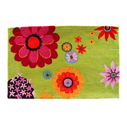 Homefires - Flower Daze Rug - Frolic in a colorful field of poppies (without the drowsiness) when you bring this wool-look-alike, washable accent rug into your home. The Tin-Man, Lion, Scarecrow and Wicked Witch are not included.