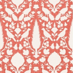 "F. Schumacher - Chenonceau Fabric, Coral - 2 Yard Minimum Order. Chenonceau is from the 2012 Spring Collection by F. Schumacher comes in 8 gorgeous color-ways and is 100% linen. Repeats - H13.5"" & V22""."