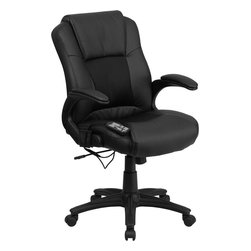 Flash Furniture - Flash Furniture Massaging Black Leather Executive Office Chair - BT-2536P-1-GG - Enjoy a relaxing massage in the comfort of your own office or home with this incredibly comfortable Massaging Executive Office chair by Flash Furniture. The included remote has a variable slider intensity mode to get to your desired comfort level and has a designated side pocket when not in use. chair features a mid-back contemporary design with leather upholstery and mesh insets in the seat and back. Get the most out of your next office chair with this Overstuffed padded Executive chair with included Massage feature. [BT-2536P-1-GG]