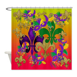 usa - Mardi Gras Blast Shower Curtain - Beautiful shower curtains created from my original art work. Each curtain is made of a thick water resistant polyester fabric. The permanently applied art work appears on the front side with the inside being white. 12 button holes for easy hanging, machine washable and most importantly made in the USA. Shower rod and rings not included. Size is a standard 70''x70''