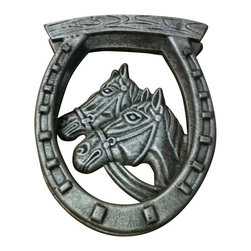 "AJchidph-1120 - Cast Iron Antique Silver Double Horse Headed Door Knocker - Cast iron antique silver double horse headed door knocker. Measures 10"" x 8"". No assembly required."