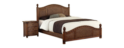 Home Styles - Home Styles Marco Island Bed and Night Stand Set-Queen size - Home Styles - Bedroom Sets - 55445016 - Marco Island Bed and Night Stand by Home Styles is island inspired displaying a rich blend of materials including Natural Rattan woven wicker Mahogany solids and veneers in a refined cinnamon finish. The design encompasses a Twisted Rattan edging on the Headboard and Footboard with intricate Natural woven rattan panels on all four sides solid mahogany bed posts and beautifully carved pineapple finials. The footboard adorns leather strapping accents around the solid mahogany posts. This is a complete bed including headboard footboard and rails.  Headboard and footboard contains interior padding for additional comfort. Perfect as a night stand or accent table this night stands design encompasses intricate Natural Woven rattan Panels a Twisted Rattan edged top and solid mahogany post with leather wrapped strapping. Other features include large storage drawers with easy-glide side mounted metal guides and matching sculpted Palm Mahogany hardware. Assembly required.