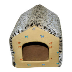 Loom and Mill - Loom and Mill DB0001 Tan Leopard House Pet Bed - This faux fur topped dog-house styled dog bed is a crowd pleaser, as well as an excellent home for your best friend. The quality construction, touches of embroidered design and cozy feel will make your pet feel right at home in this pet bed. Spot clean only.