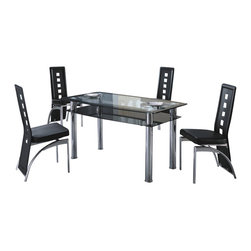 American Eagle Furniture - 112DT & 104CH Black Tinted Glass Table & Black Vinyl Chairs 5 Piece Dining Set - The 112DT & 104CH dining set will have you enjoying your meals in modern luxury. The dining table has a glass table top with polished stainless steel. The table features a two tiered design with the top layer accented along the edge with a black finish and the lower tier with a black tint. The chairs come upholstered in a stunning black vinyl material with High density foam placed within the cushion for added comfort. The chairs have a slotted open back design with the back extending down to the legs. The frame of the chairs are crafted from polished stainless steel making them very durable. The dining set consist of a dining table and four chairs only.