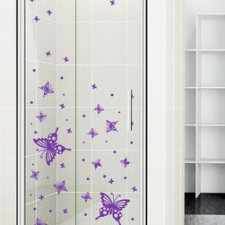 StickONmania - Shower Door Vinyl Decal #36 - These decals come with two of each element mirrored, you choose how to place them.A vinyl decal sticker that lets you choose how to decorate. Decorate your home with original vinyl decals made to order in our shop located in the USA. We only use the best equipment and materials to guarantee the everlasting quality of each vinyl sticker. Our original wall art design stickers are easy to apply on most flat surfaces, including slightly textured walls, windows, mirrors, or any smooth surface. Some wall decals may come in multiple pieces due to the size of the design, different sizes of most of our vinyl stickers are available, please message us for a quote. Interior wall decor stickers come with a MATTE finish that is easier to remove from painted surfaces but Exterior stickers for cars,  bathrooms and refrigerators come with a stickier GLOSSY finish that can also be used for exterior purposes. We DO NOT recommend using glossy finish stickers on walls. All of our Vinyl wall decals are removable but not re-positionable, simply peel and stick, no glue or chemicals needed. Our decals always come with instructions and if you order from Houzz we will always add a small thank you gift.