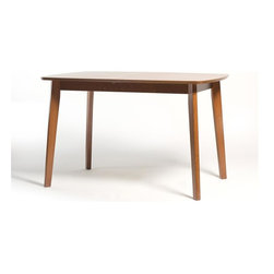 """Aeon Furniture - Dayton Butterfly Leaf Extension Dining Table - Solid Beech Wood Frame. Warm Cherry Finish. Beech Veneer Over MDF Top. Butterfly Extension Leaf. Open Dimensions: 59"""" w x 31.5"""" d x 29.5"""" h. CARB Rated. Assembly Required. Open: 59 in. L x 31.5 in. W x 59 in. W x 29.5 in. H. 47.25 in. L x 31.5 in. W x 29.5 in. H (51 lbs.)Ideal for apartments, condos or a reakfast nook, this beechwood dining table features a butterfly extension leaf. Its rounded corners,  profile edge and off set legs offer a great look along with true functionality.  With its high style contemporary design, compact size and expandable feature, you can entertain in style while making the most of limited space."""