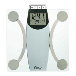 Conair - Weight Watchers� by Conair Glass Body Analysis Scale - Setting goals just got easier. This handsome glass platform scale measures your weight, body fat, body water, BMI and bone mass, giving you a far more accurate assessment of your health. Look for the color bar that analyzes and interprets your body results.