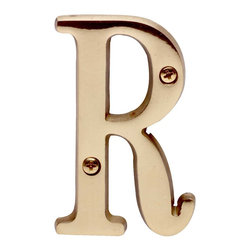 """Renovators Supply - House Numbers Bright Solid Brass R 3"""" high - Made of solid brass, these polished die cast letters are made to withstand the elements. Our RSF protective finish process ensures they stay looking like new. Use them to update your home's exterior!"""