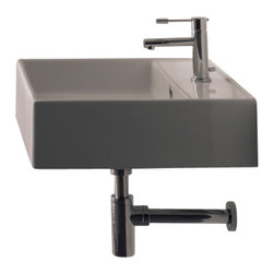 """Scarabeo - Square White Ceramic Wall Mounted or Vessel Sink, One Hole - Modern design square white ceramic sink. Beautiful wall mounted or above counter bathroom sink with overflow. Bathroom sink is available with no hole, single hole, or three holes. Trendy square ceramic sink for the bathroom wall or counter top. Ceramic sink also fits nicely on a vanity counter. This porcelain sink is 18.1"""" x 18.1"""" and weighs approximately 31 pounds. From the Teorema Collection. Sink is made in Italy by Scarabeo. Scarabeo offers a 5 year limited warranty on all of its products."""