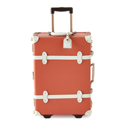 """Horchow - Orange Correspondent Stowaway Case - Orange Correspondent Stowaway CaseDetailsHandcrafted stowaway made of fiberboard.Leather straps.TSA-approved lock.Aluminum extendible trolley handle.Detachable wash bag.Approximately 15.75""""W x 7.75""""D x 23""""T.Imported."""
