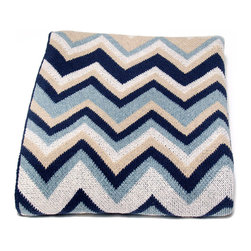 Zig Zig Throw - Blue Pond and Linen - Made to a generous size with a blend of soft recycled-cotton yarns, the Zig Zag Throw in Blue Pond and Linen provides a sense of ease to your home along with a dose of geometric verve. With its combination of deep blues and neutrals, this throw suggests the seaside, but its eclectically retro design makes it a spirited addition to any space.