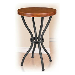 "Woodland Accent Table - The Woodland Accent Table brings a rustic look to your living room with its beautiful design. The artisan-made iron base is crafted with the look of curved branches in a black finish  while the top is made from high-quality recycled copper that has been hand-hammered and fired  then finished using a hand-applied  Old World technique for variations on each piece. A wax coating adds protection. Measures 18""W x 18""D x 27""H. ~ Ships from the manufacturer. Allow 4 to 6 weeks."