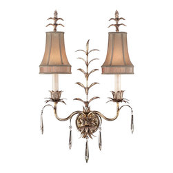 Fine Art Lamps - Pastiche Sconce, 409050ST - Add a shimmering touch of fairytale beauty to your home. With its silver finish, silk shades, budding foliage and crystal accents, this double wall sconce is a fantasy come to life — and light.
