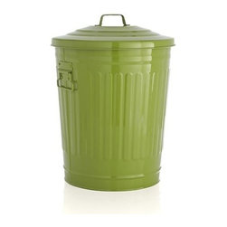 Green Utility Can - Galvanized iron pail with faceted sides, stepped lid, carrying handles and durable green powdercoat finish takes on tasks in the yard, garage or utility room.