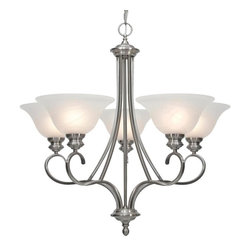 Golden Lighting - PW 5 5 Light Single Tier Up Light ChandelierLancaster Collection - Golden Lighting's Lancaster Collection features a transitional style of decorative lighting that is perfect for traditional to soft modern settings.