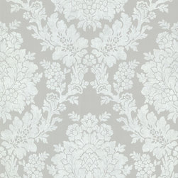 Brewster Home Fashions - Liza Grey Roselle Damask Wallpaper. - Chic and modern go hand and hand on this stately large damask wall covering. Soft white embossing and floral touches fall together to create a timeless design.